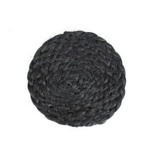 Toile de jute coaster noir Ø10cm