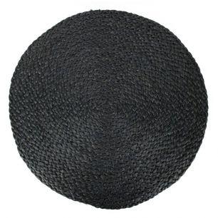 Toile de jute set de table ronde noir Ø 43cm