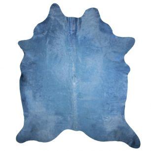 Tapis vache couleur bleu