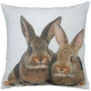 Toile coussin 2 lapins bruns 50x50cm