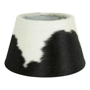 Abat-jour peau de vache noir/blanc 30cm
