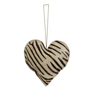 Décoration à accrocher zèbre cœur grand 20cm