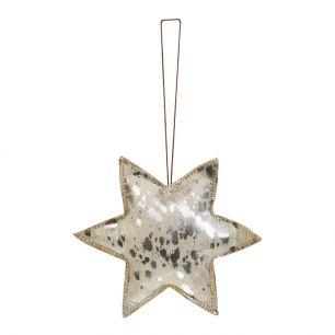 Décoration à accrocher argent étoile grand 20cm