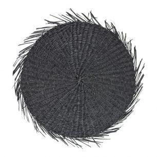 Jonc de mer set de table ronde noir
