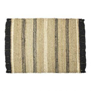 Jonc de mer tapis noir ligne 60x90cm
