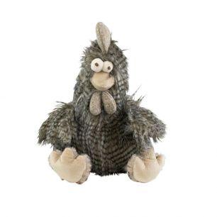 Doudou cheveux longs coq gris 21cm