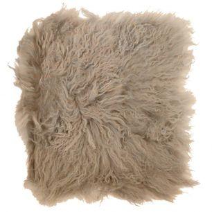 Coussin d'assise mouton cheveux bouclés beige 40x40cm