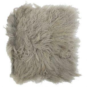 Coussin d'assise mouton cheveux bouclés gris 40x40cm