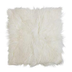 Coussin d'assise mouton cheveux bouclés blanc 40x40cm