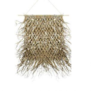 Tapisserie tressée feuille de palmier sur bâton 80cm