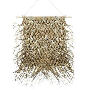 Tapisserie tressée feuille de palmier sur bâton 90cm