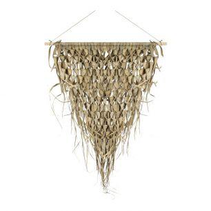 Tapisserie tressée feuille de palmier triangle sur bâton 55cm